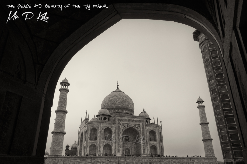 Taj-Mahal-viewed-through-an-archway-in-black-and-white