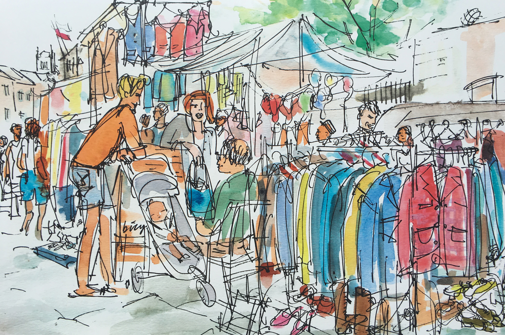 Families checking out the stalls on the Portobello and Golborne Road Markets