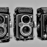 Black and white image of Rolleiflex camera