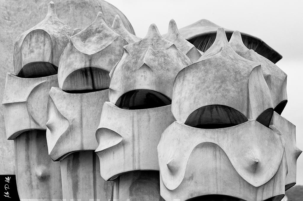 Gaudi designed Ventilation Towers at the Casa Mila in Barcelona Spain