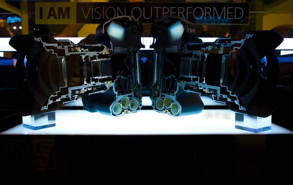The bisected Nikon D5 camera body on show at the photography show 2017 in NEC Birmingham