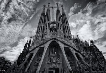 The Roman Catholic Basillica by Antoni Gaudi in Barcelona Spain black and white image