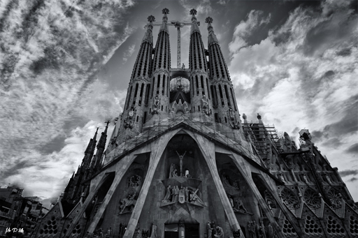 The Roman Catholic Basillica by Antoni Gaudi in Barcelona Spain black and white image