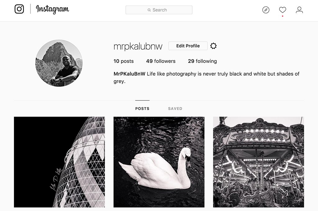 Black and white image of mrpkalu instagram portfolio