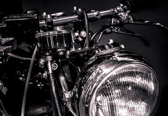 black and white image of a vincent 500cc motorcycle