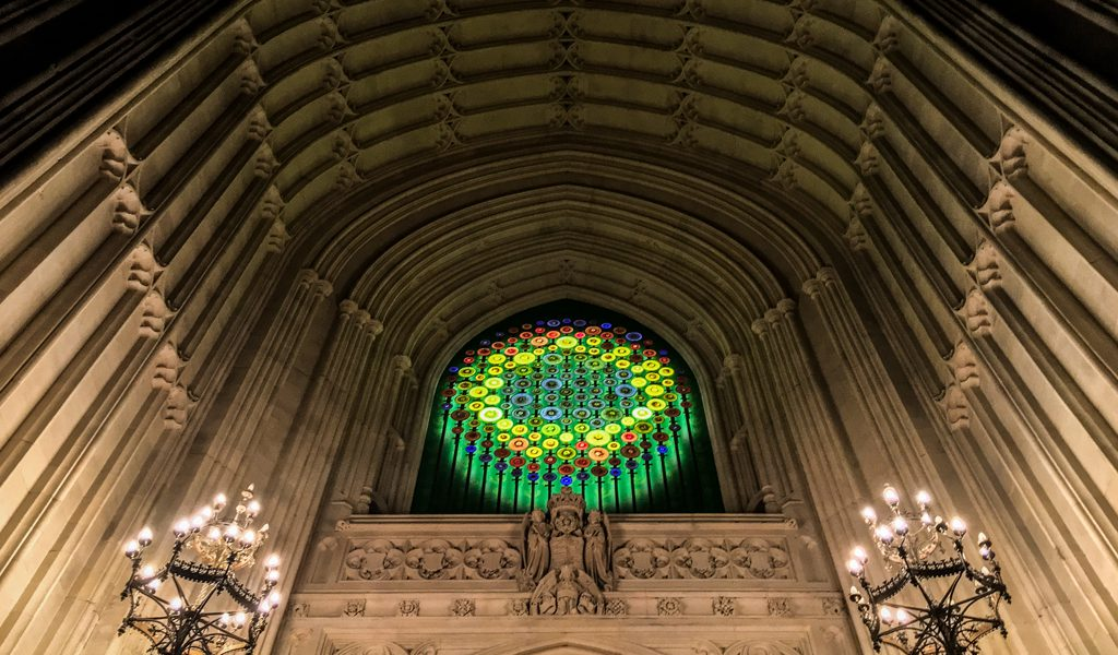 New Dawn light sculpture by Mary Branson in Westminster's Great Hall