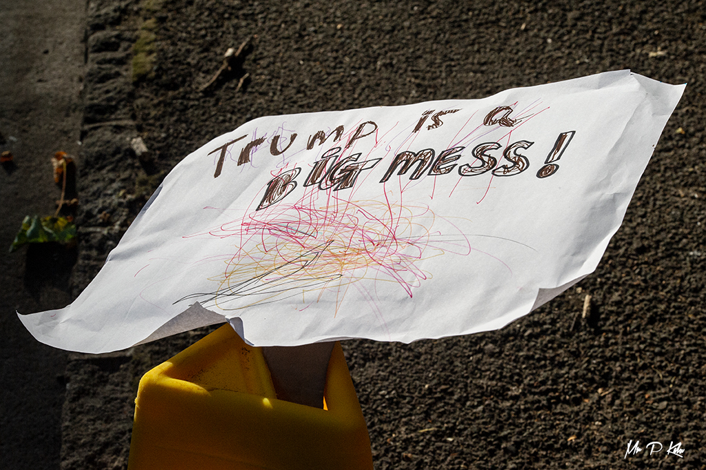 An abandoned demonstraters placard following the President Trump visit to Blenheim Palace in Woodstock, Oxfordshire