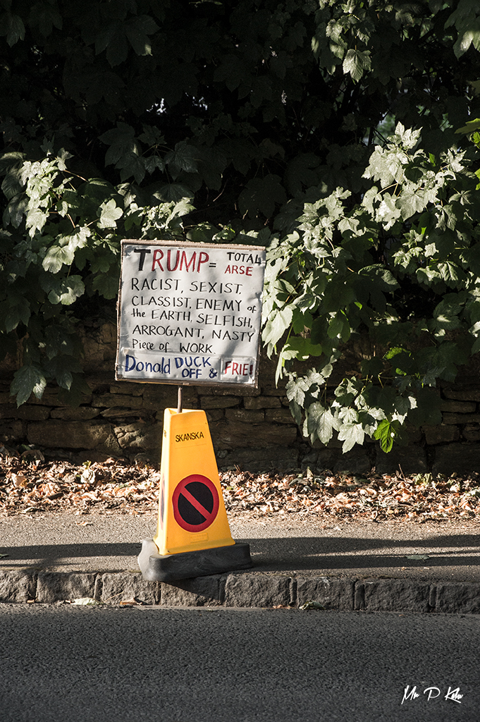 Placard abandoned in Woodstock during President Trump's visit