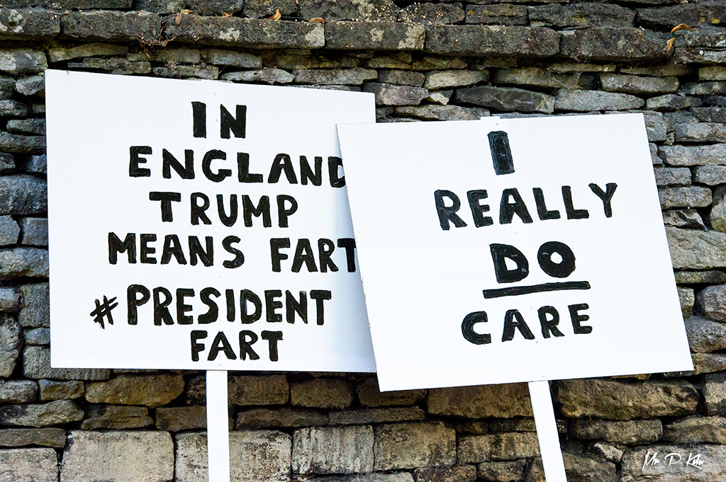 'I really do care' placard outside Blenheim Palace prior to the arrival of President Trump at Blenheim Palace in Woodstock, Oxfordshire