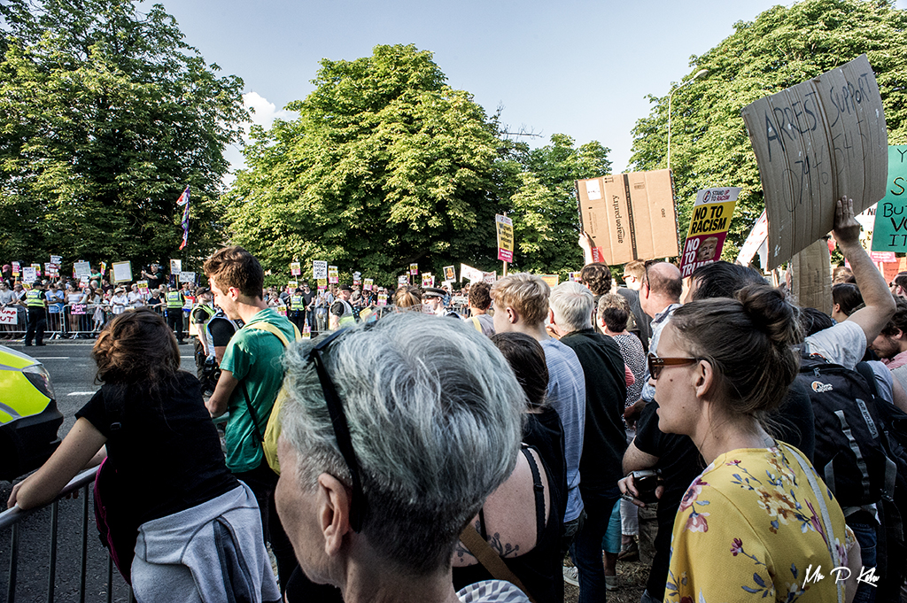 Crowds gather for the protests to the visit of President Trump to Blenheim Palace in Woodstock, Oxfordshire
