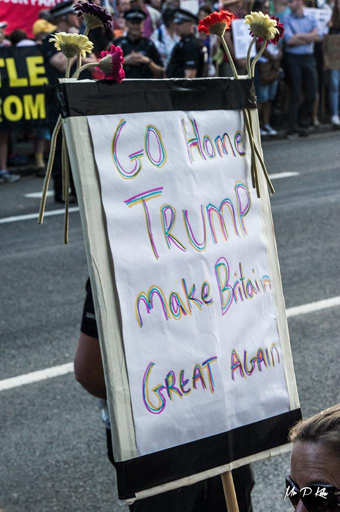 'Go Home Trump' placard outside Blenheim Palace