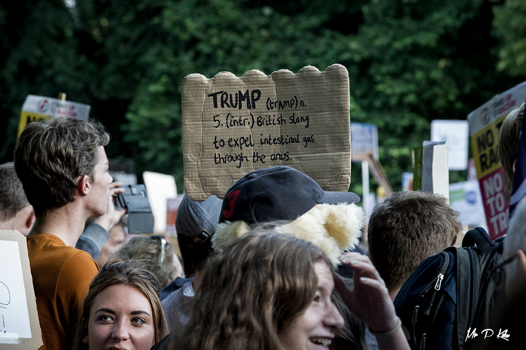Definition of 'Trump' placard held by a protester outside Blenheim Palace during the visit of President Trump