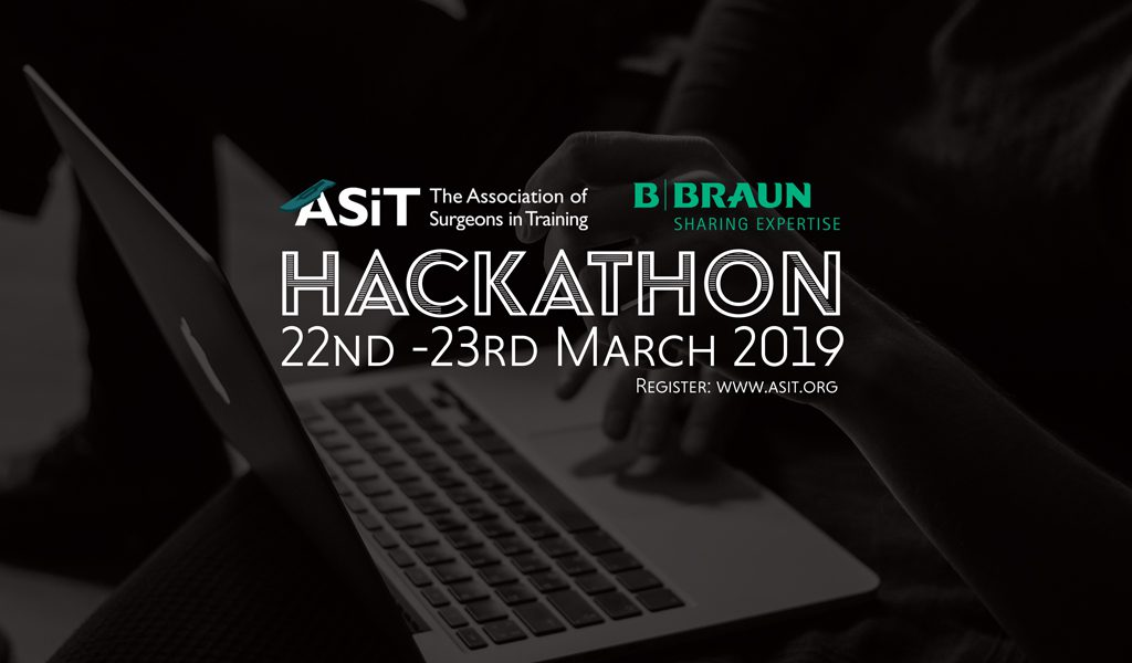ASiT Hackathon promotional image showing a delegate working on an Apple laptop